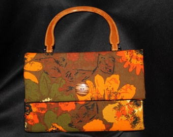 Handmade Handbag Purse Adler Vintage Upholstery Fabric Barton Pattern Olive Green, Orange & Brown with new wooden looking handles