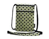 Small Cross Body Bag, Sling Bag, Zipper Pouch, Passport Holder, Neck wallet Travel Organizer - Blossom Reel Geo Green