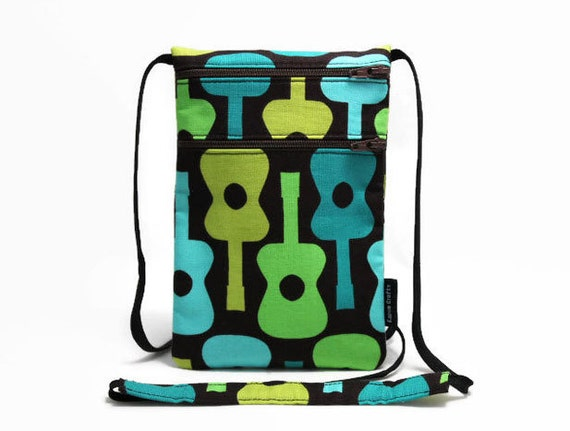Security Travel Wallet, Small Passport pouch, Travel Organizer, Zipper Pouch, Sling bag, Neck Wallet - Groovy Guitar Lagoon