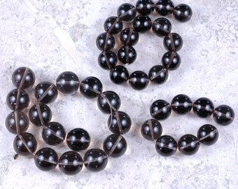 Designer DESTASH! AA Round Smoky QUARTZ beads 18mm, 16mm, 15mm destash lot