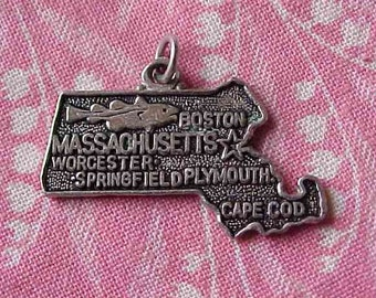 Vintage Sterling Massachusetts State Map Travel Souvenir Charm