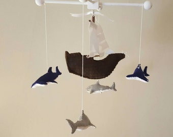 Pirate ship and sharks baby mobile