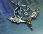 Dragon with Pentacle Pewter Pendant Amulet Symbolic Wiccan Jewelry Design