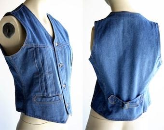 Brittania Vintage 70's Denim Soft Lived in Retro Unisex Button Down Vest