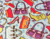 RaToob, Orange Pink Purple Green and Blue Purses and Shoes on Blue