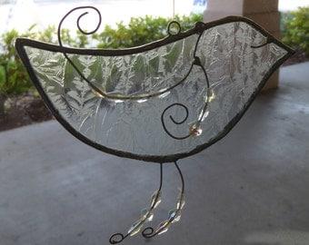 Stained Glass Friendship Bird ~ Lovely Lace ~ Suncatcher Home Decoration
