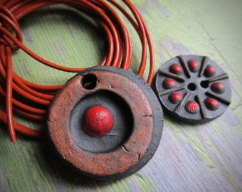 Daisy Design Set, Handcrafted Beads, Ceramic Beads, Pendant, Pendants, Art Bead,