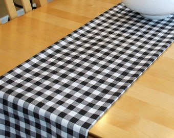Black Table Runner Check Plaid - Black White - Home, Banquet, Wedding, Banquet, Party  Premier Prints