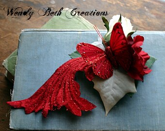 White Rose and Red Butterfly Hair Clip Fascinator - ATS, Tribal Fusion, Steampunk, Belly Dance