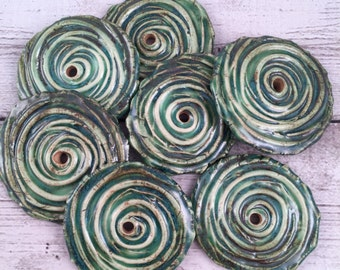 Handmade Ceramic Bead in Tide Pool Porcelain Spiral Textured Disc Beads Jewelry Supplies Focal Bead Blue Green made by Marsha Neal Studio