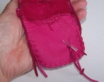 Leather Medicine Bag...PINK