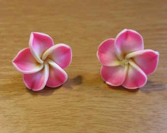 Pink Fimo Plumeria Flower Post Earrings