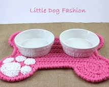 Feeding Mat for Dog, Dog Products, Unique Dog Gift, Dog Christmas Gift, Crochet,  Placemat for Dog, Dog Bone, Soft Pink