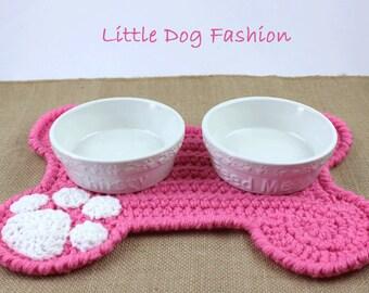 Feeding Mat for Dog, Dog Products, Unique Dog Gift, Dog Christmas Gift, Crochet,  Placemat for Dog, Dog Bone, Soft Pink