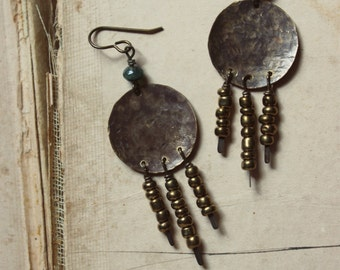 Dusk. Rustic Bohemian Gypsy Hand Textured Brass, Gold Glass Bead and Moss Agate Fringe Earrings.