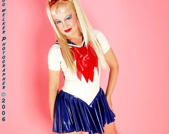 Sailor Moon LATEX Cosplay Costume.  Bodysuit with attached bows, sailor scarf and skirt.
