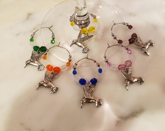 Humming Bird Hummingbird   Wine Charms with Pouch
