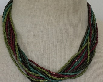 Green multi strand necklace Vintage Beaded Statement