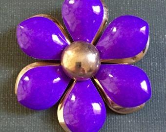 Flower Brooch Purple Gold Tone 1960s