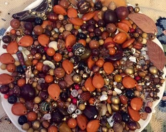 HUGE 1 Pound 7 OZ Destash Bead Mix Vintage Glass Plastic Rhinestone Metal Brown Tan Natural Neutral Inspiration Altered art diy