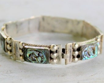 Vintage 1940's Iguala mexico sterling, abalone Hinged bracelet