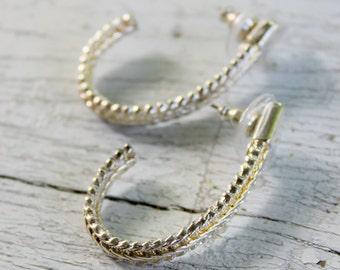 Premier Designs Vintage Hoop Earrings Silver Tone Signed