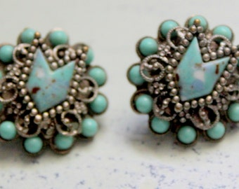 Antique Turquoise earrings Screwback Vintage 1940s