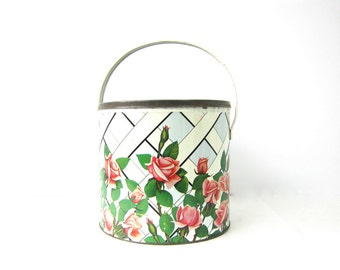 Vintage Pink Tin Retro Cottage Chic Storage Metal Round Tin Bucket Pail with Handle Roses and Lattice Fence Print