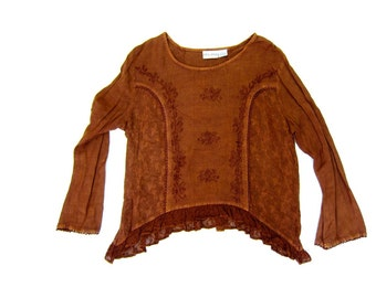 Vintage boho INDIAN blouse Brown hippie gypsy shirt Ethnic festival blouse Floral Embroidered India Blouse Rayon Cropped Top DELLS Large