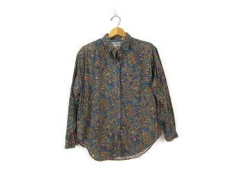 vintage cotton Paisley print button up shirt Hipster Preppy collar 1990s Revival Tuck In Secretary shirt Women's size Small