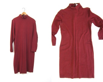 90s Cotton Body Con Dress Stretchy Houndstooth Print Mini Dress Red Black Checkered Dress Long Sleeve Fall 90s Mock Neck Preppy Grunge Dress