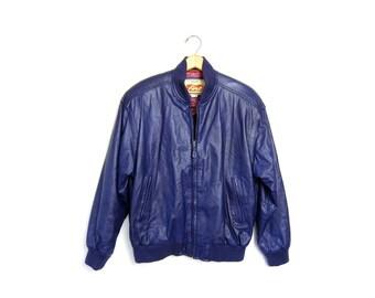 80s Leather Coat PURPLE Bomber Jacket Leather Moto Motorcycle Coat Biker Slouchy Punk Medium Large