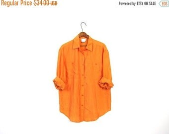 Slouchy 80s Button Up Silk Blouse SORBET ORANGE Minimalist Shirt Loose Fit Minimal Top Womens MEDIUM Large