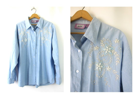Vintage 90s Button up cotton shirt Faded Blue Floral Beading shirt Basic Beaded top womens Plus size 3X XXXL