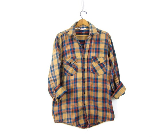 Vintage boyfriend flannel Blue & Tan 80s Plaid Hunting Shirt Long Sleeve Rugged Lumberjack Distressed Patched Shirt Unisex Size Large