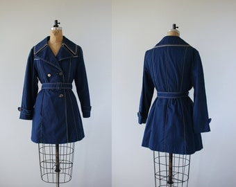 vintage 1970s trench jacket / 70s blue double breasted jacket / 70s young rebels jacket / 70s light weight jacket / belted / medium large