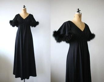 vintage 1970s maxi dress / 70s black hostess gown / marabou trim / size small medium