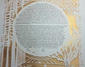 RESERVED for Mike and Chelsey - Redwoods and Daffodills Papercut Ketubah - custom English calligraphy
