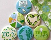 Think Green Magnets with Fabric Gift Bag- Set of 6