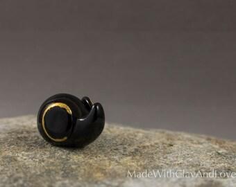 NEW Little Elephant - Black And Gold - Miniature Polymer Clay Animal Terrarium Figurine - Hand Sculpted