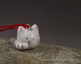 NEW Little Kitty Christmas Tree Ornament - Miniature Decoration - Hand Sculpted Polymer Clay Animal