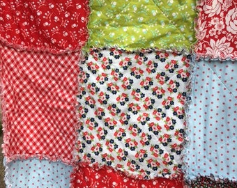 """64"""" Rag Quilt with Bonnie & Camille Moda Fabrics Vintage Picnic  Lap Picnic Blanket  Size 64 inches square Reversible"""