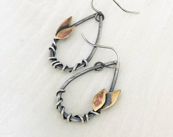 Leaf and Vine Drop Earrings, Silver, Brass