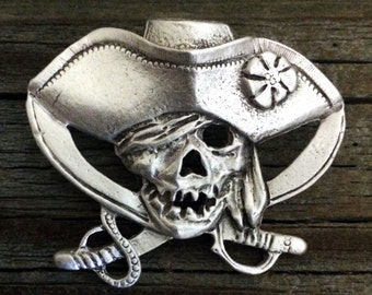 Pirate Skull and Crossed Swords Pewter Pin