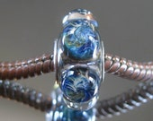 """Tangled Sky Glass """"Day One"""" #1 Portal FULLY Sterling Silver Lined Lampwork Charm Bead BHB"""