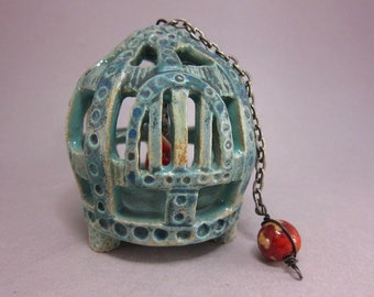 Caged...Stoneware Sculpture / Ornament