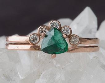 Natural Trillion Emerald Ring