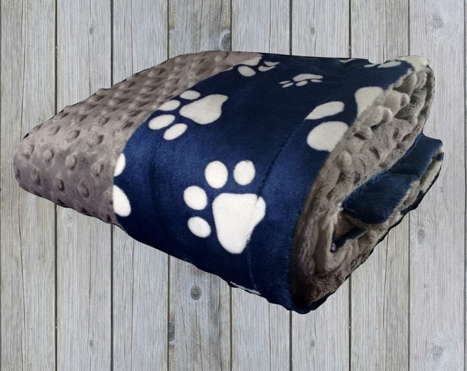 Navy Blue and White Paw Print Minky Blanket, Navy Blue Dog or Pet Blanket, available in three sizesCan Be Personalized