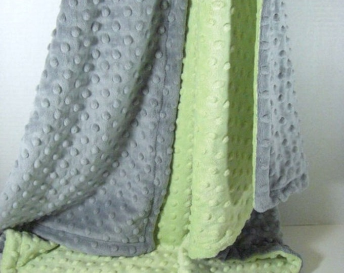 Sage and Gray Minky Dot Baby Blanket, Mint and Gray Minky Baby Blanket, unisex baby gift Can Be Personalized
