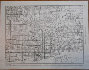 City Map of Toronto Ontario Canada vintage 1940s Old street map, wall decor